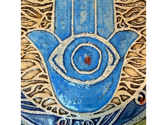 Handmade Hamsa Square Plaque by Art in Clay