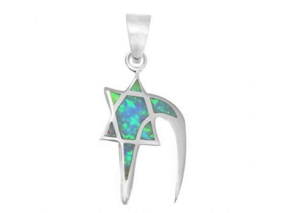 Chai and Star of David Necklace, Silver & Opal