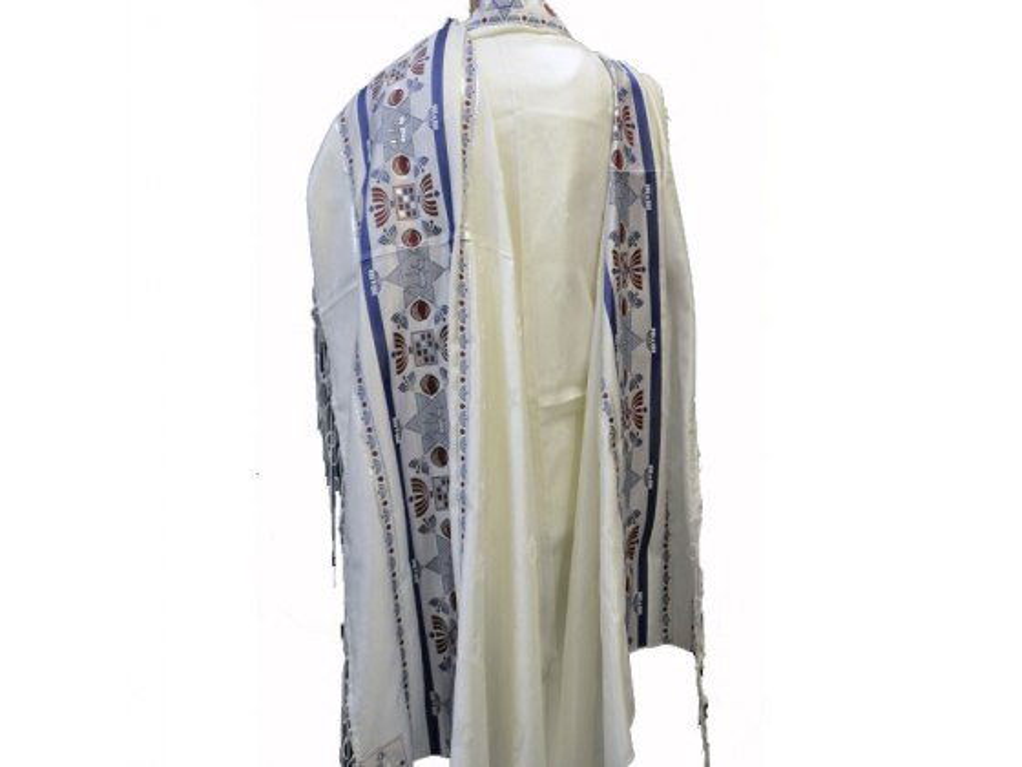 Chai Motif Blue and Silver Stripes Acrylic, Tallit