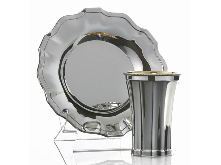Chatan Set Kiddush Cup & Saucer, Simply Elegant Embossed Panels, Hadad