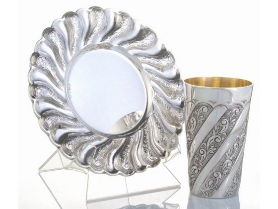 Sterling Silver  Kiddush Cup & Saucer, Toscana Panel Swirls, Straight Edge