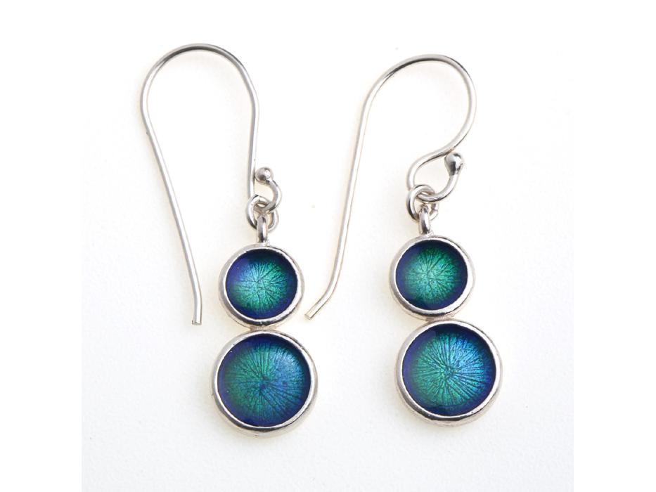 Circular Sea Blue Enamel Painted Silver Earrings, Idit Jewelers