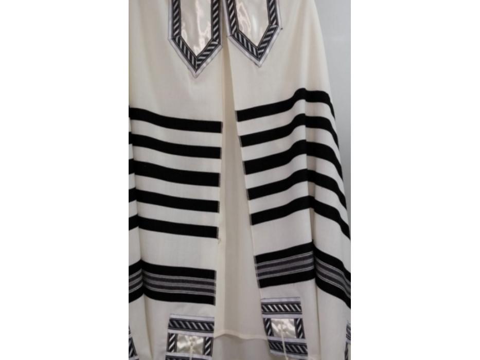 Galilee Silks Classic Black and White Tallit Prayer Shawl