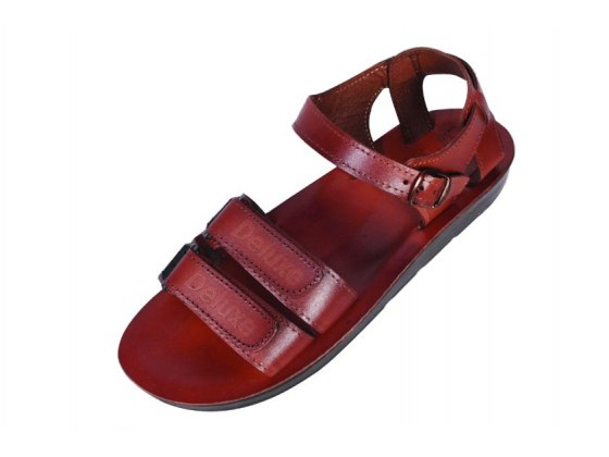 Classic Double Strap Leather Sandals with Velcro Closure  - Saul