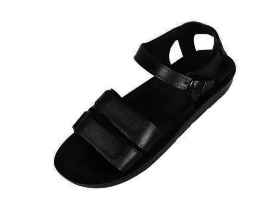Classic Double Strap Handmade Leather Sandals with Velcro Closure  - Saul