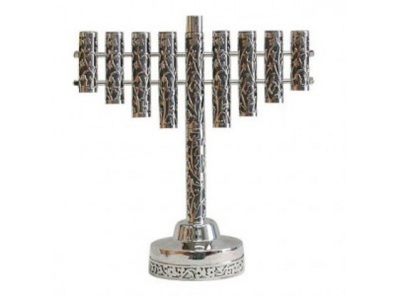 Classic Sterling Silver Hanukkah Menorah with Flower Cut Out
