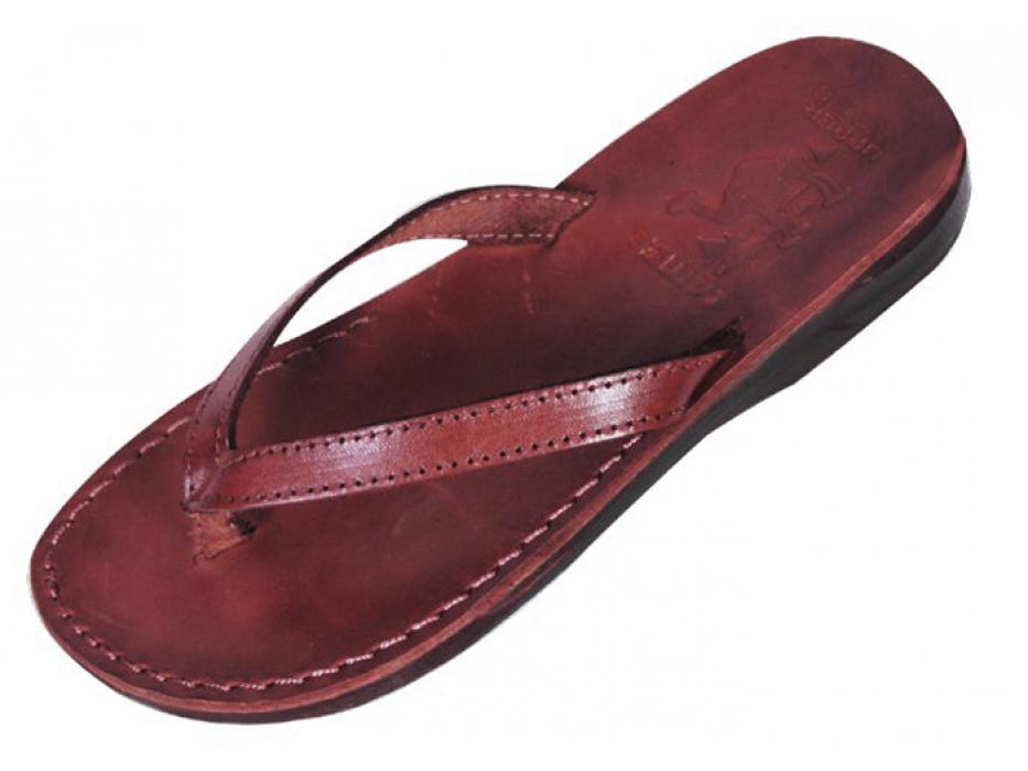 Classic Thin V-Strap Flip-Flop Leather Biblical Sandals - Sarah