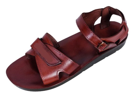 Classic Wide Strap Handmade Leather Biblical Sandals with Velcro