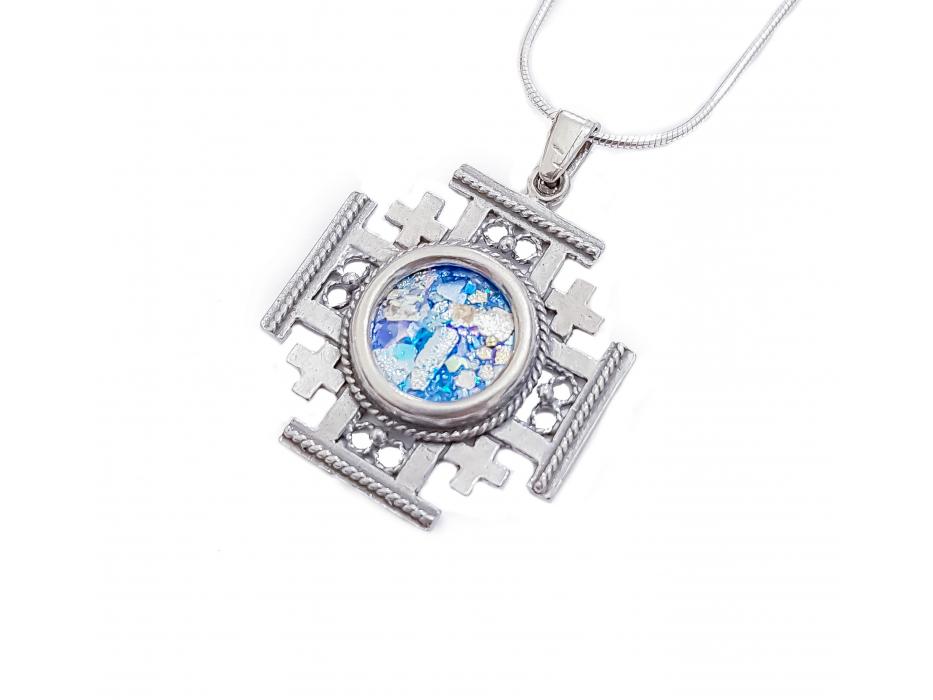 Silver and Roman Glass Filigree Cross