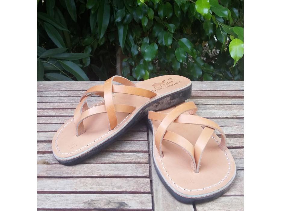 Leather Flip-Flop Sandal Carmel Tan