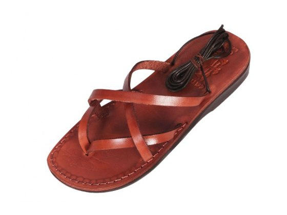 Crisscross leather Sandals with Roman Laces - David