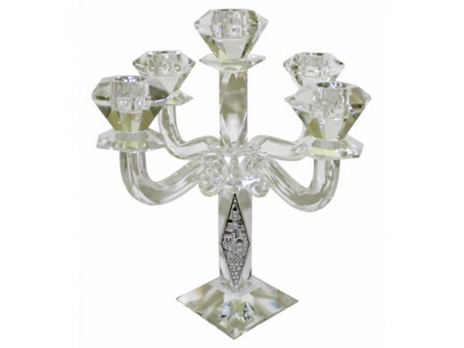 Crystal 5 branch Elegant Candelabra with Jerusalem