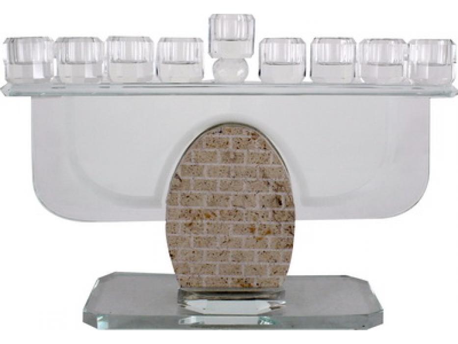 Crystal and Oval Marble Hanukkah Menorah