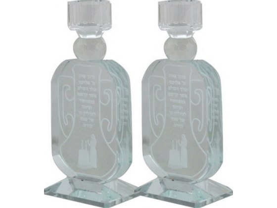 Crystal Candlesticks Laser Engraving of Candle Blessing