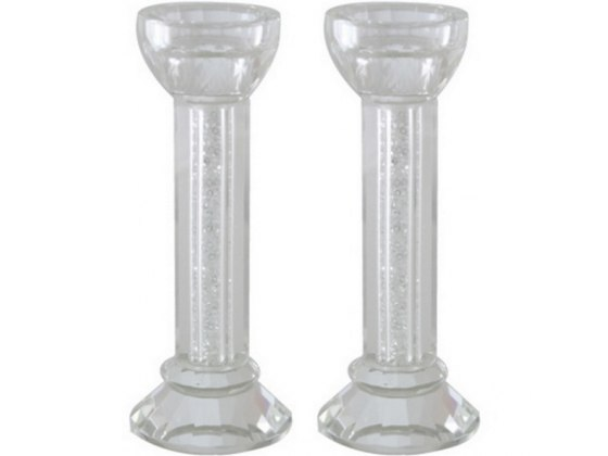 Crystal Candlesticks with Silver Chips Center