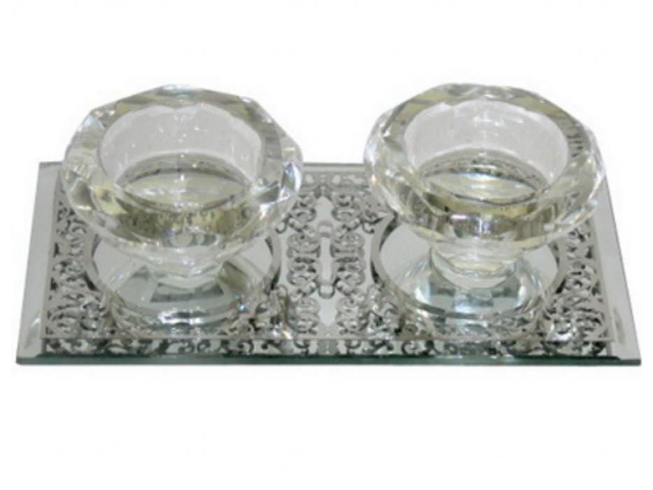 Crystal Shabbat Candlesticks Set on Ornamental Base