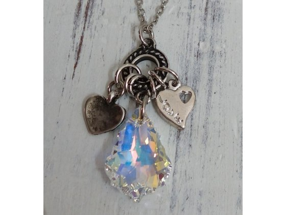 Crystal Teardrop Necklace with Silver Hearts