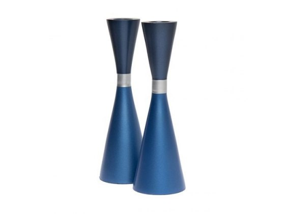 Yair Emanuel Blue Tapered Shabbat Candlesticks With Ring