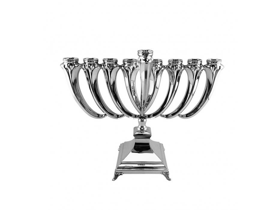 Curved Smooth Sterling Silver Hanukkah Menorah by Hadad