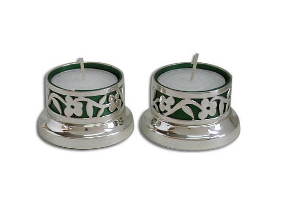 Cut Out Flower Motif Tea-light Shabbat Candlesticks