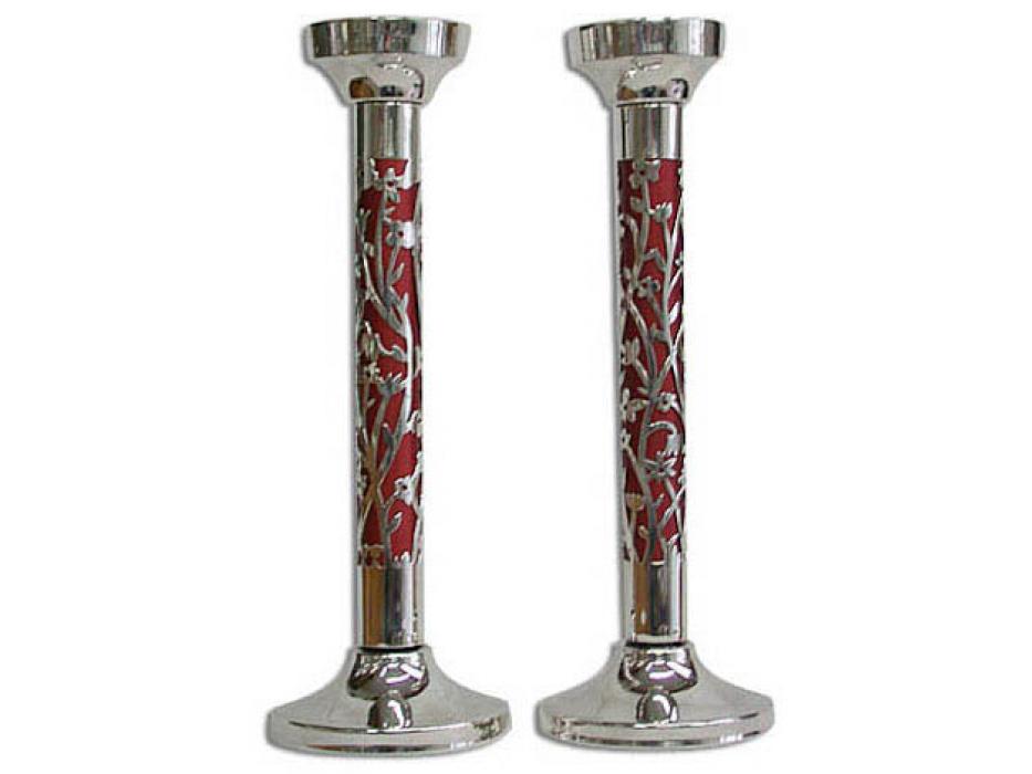 Cut Out Flowers Motif Red Insert Tall Shabbat Candlesticks