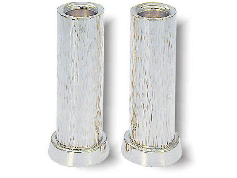 Cylinder Shaped Line Hammered Sterling Silver Shabbat Candlesticks