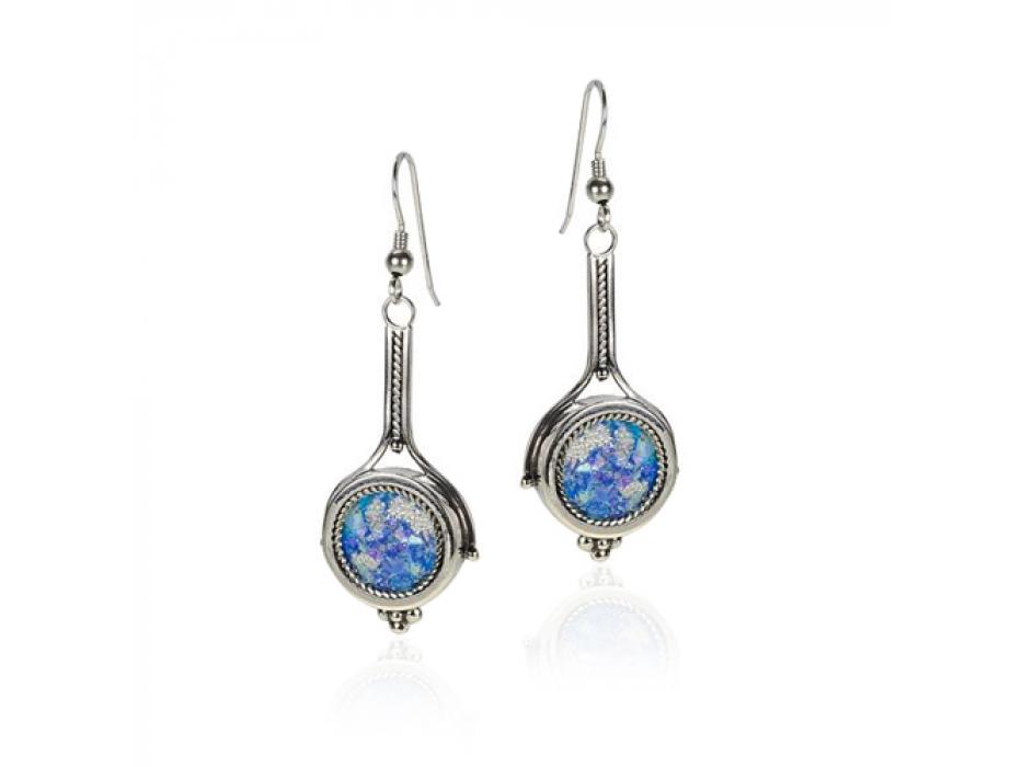 Dangling Silver Twisted Cord Roman Glass Pendant Earrings