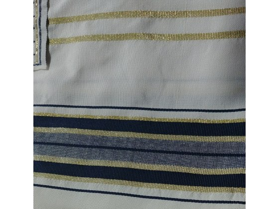 "Dark Blue and Gold Christian Prayer Shawl (72"" x 22"")"