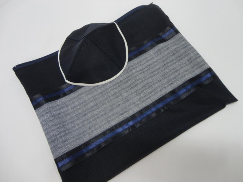 Dark Blue and Grey Tallit