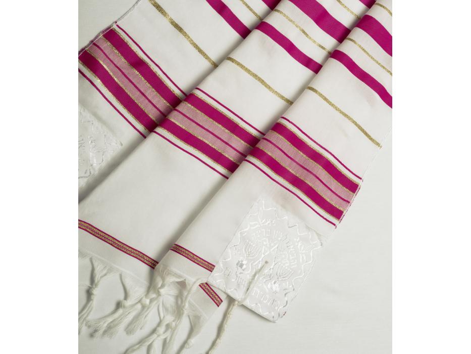 Dark Pink and Gold Stripes Tallit Prayer Shawl (24 x 67 inch)