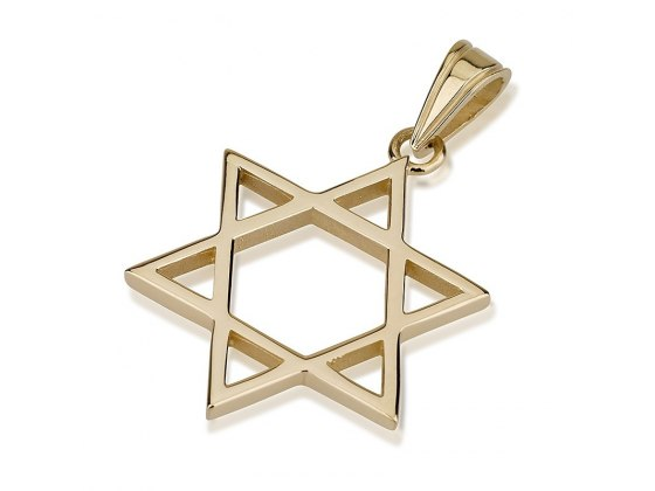 Delicate 14K Gold Star of David Pendant