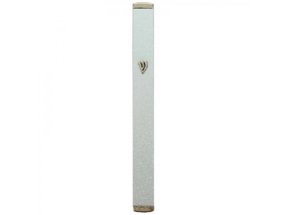 Dotted Silver Aluminium Mezuzah Case with Cork