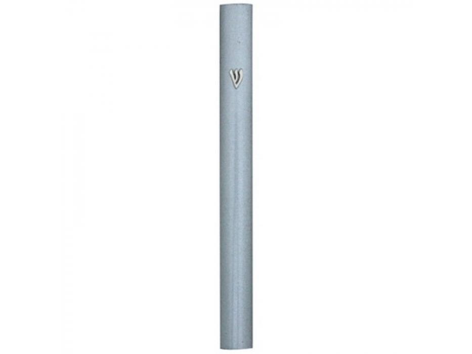 Dotted Silver Aluminum Long Mezuzah Case