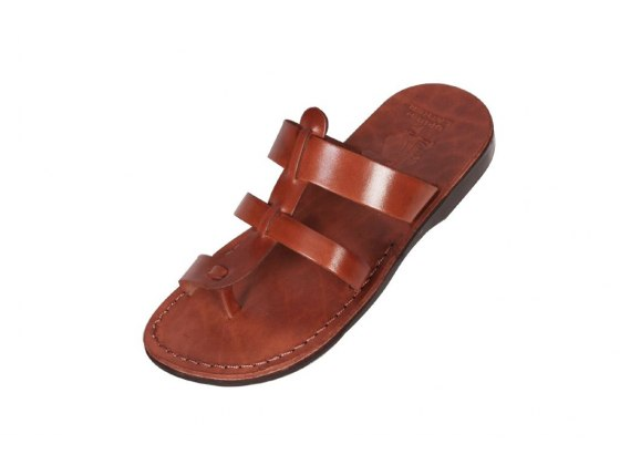 Double Band Slip-on Leather Sandals – Leah