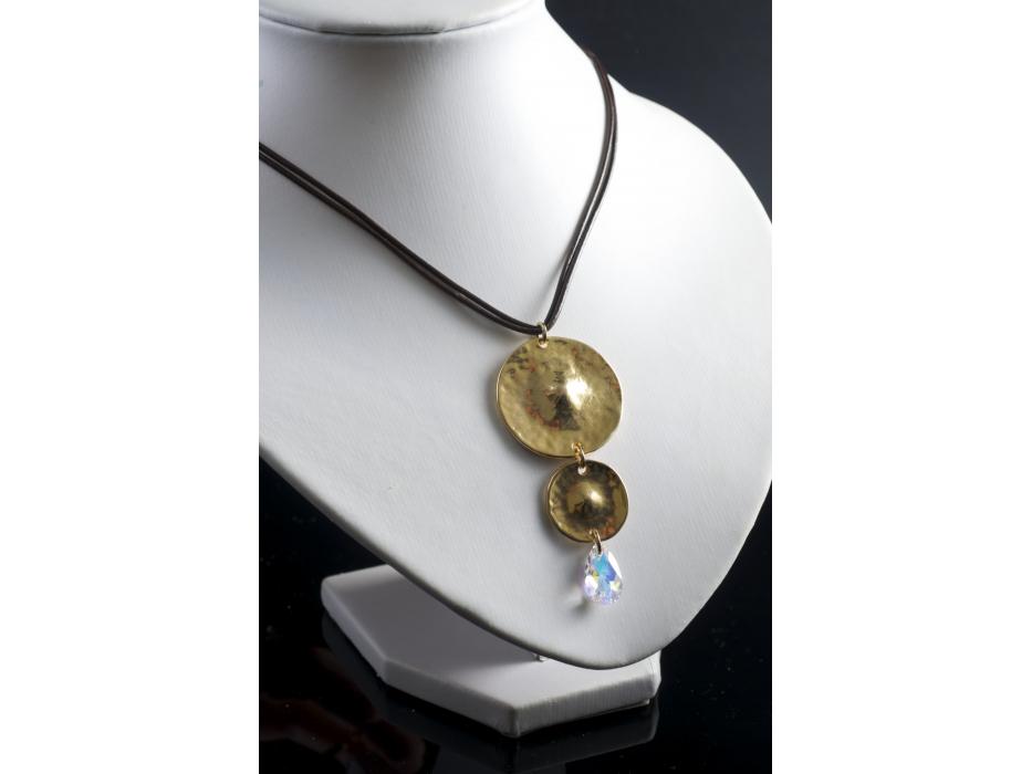 Double Disc Pendant Necklace with Swarovski Crystal Teardrop - Anava Jewelry