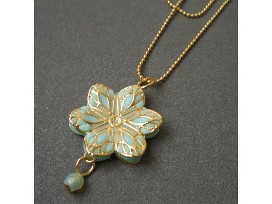 Double Gold and Turquoise Filigree Necklace - Shlomit Ofir Jewelry