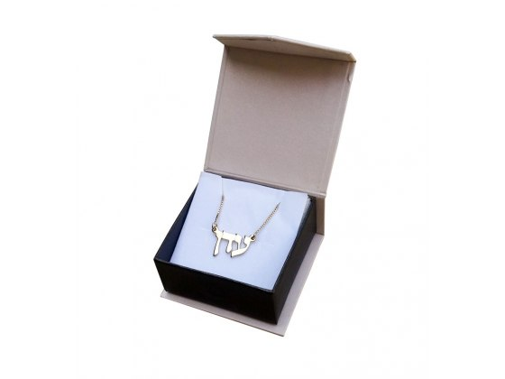 Double Thickness 14K Gold Cursive Letters, Hebrew Name Necklace