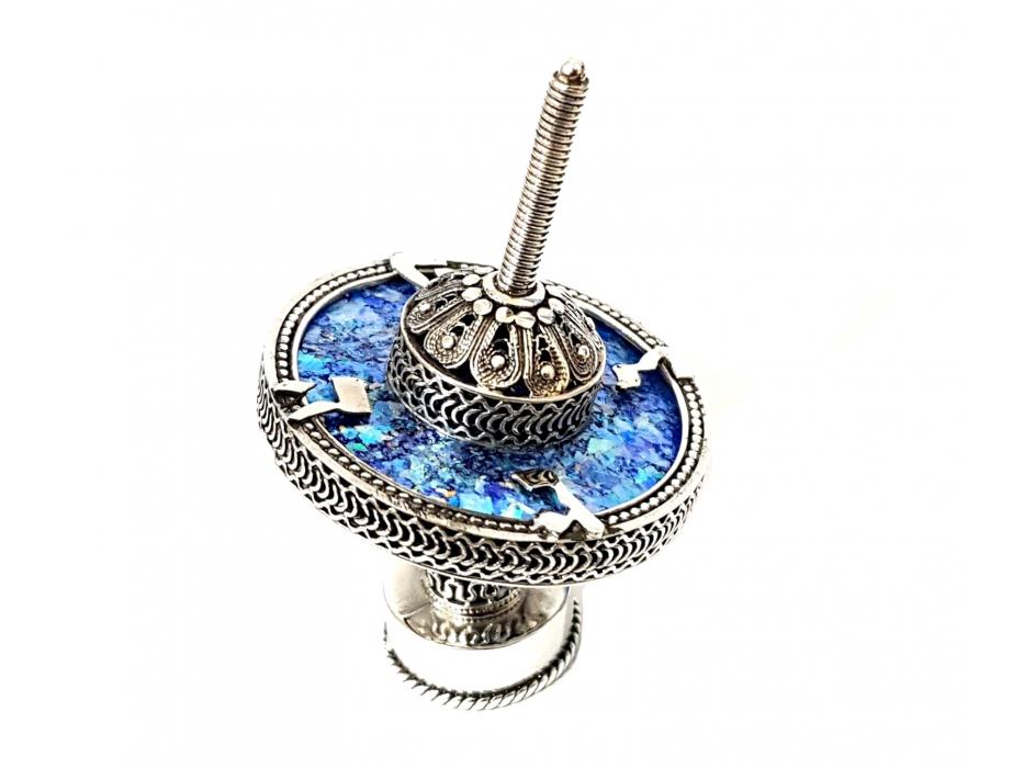Filigree Hanukkah Dreidel Sterling Silver and Roman Glass