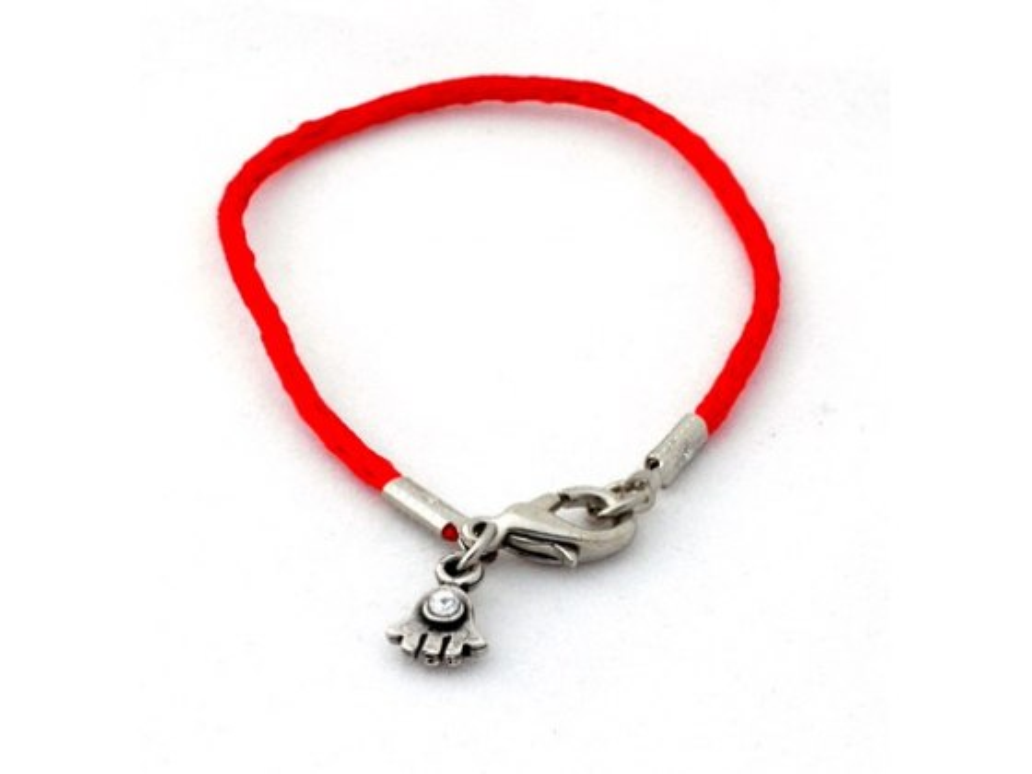 Silk Red String Kabbalah Bracelet, Silver Hamsa Pendant