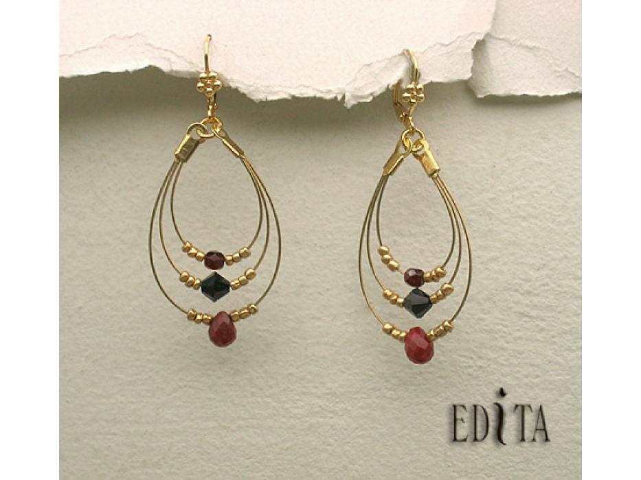 Edita - Ecstasy - Ruby Red -  Handcrafted Israeli Earrings