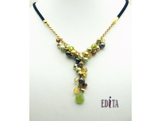 Edita - Glorious Green - Handcrafted Israeli Necklace