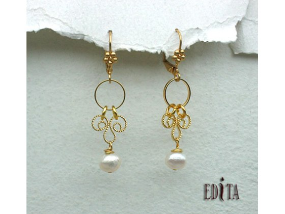 Edita - Pearls of Wisdom -  Handcrafted Israeli Earring