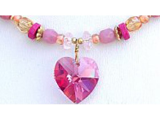 Edita - Pure Heart (Fuchsia) - Israel Necklace