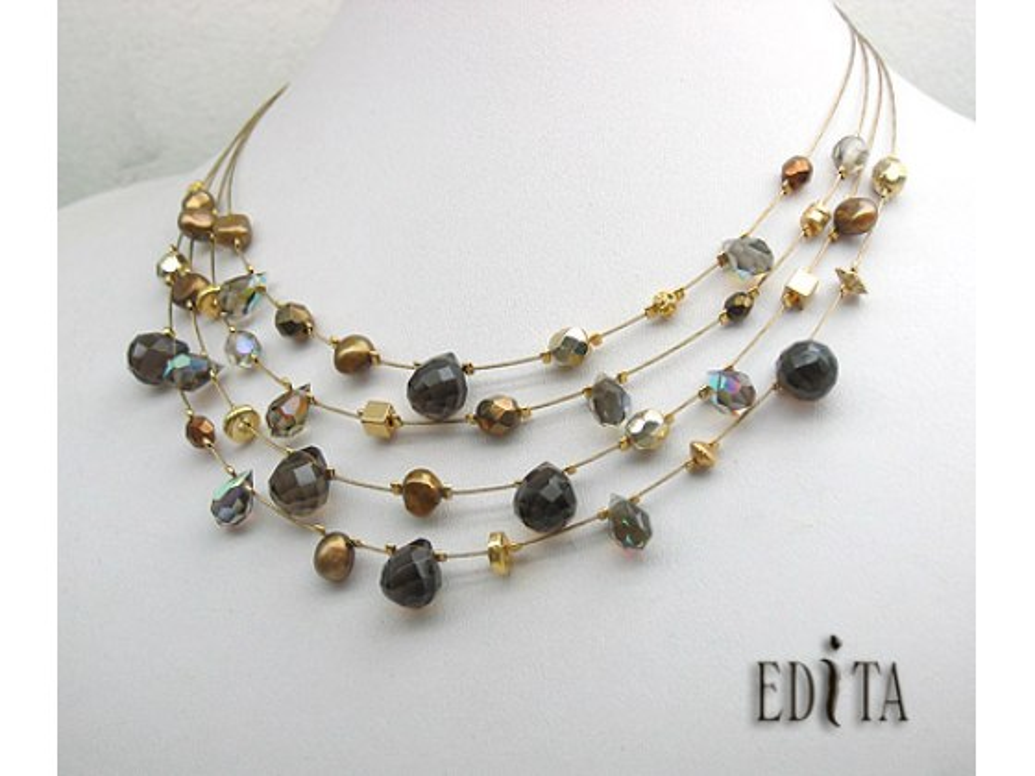 Edita - Smoky Raphsody- Handcrafted Israeli Necklace