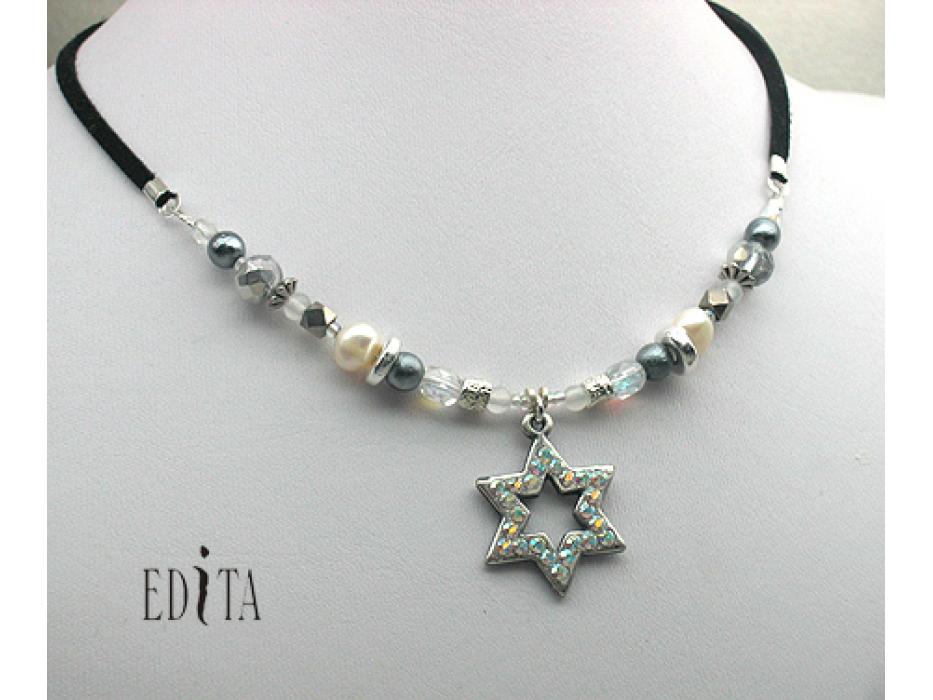 Edita - Sparkling Silver Star- Handcrafted Israeli Necklace