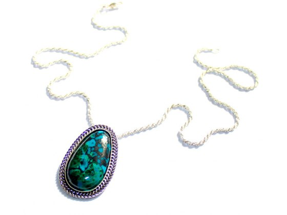 Eilat Stone in a Oval Filigree Sterling Silver Frame Necklace
