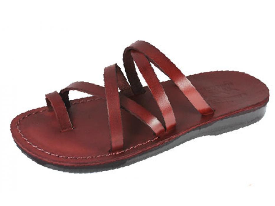 Elaborate Stylish Double X-Strap Handmade Leather Sandals - Tamar