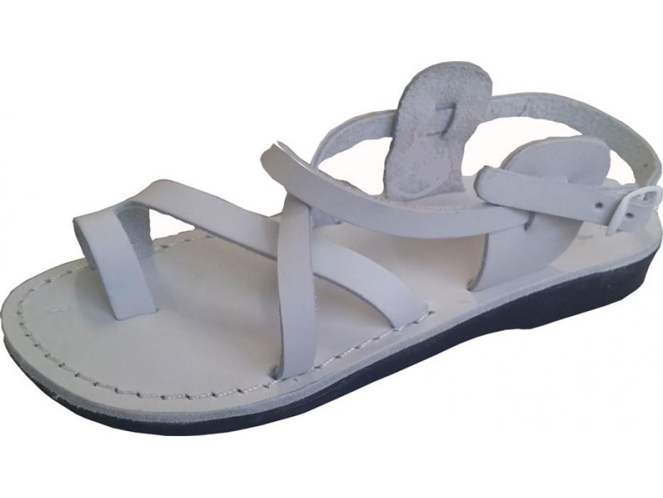 White Crisscross Handmade Leather Sandals
