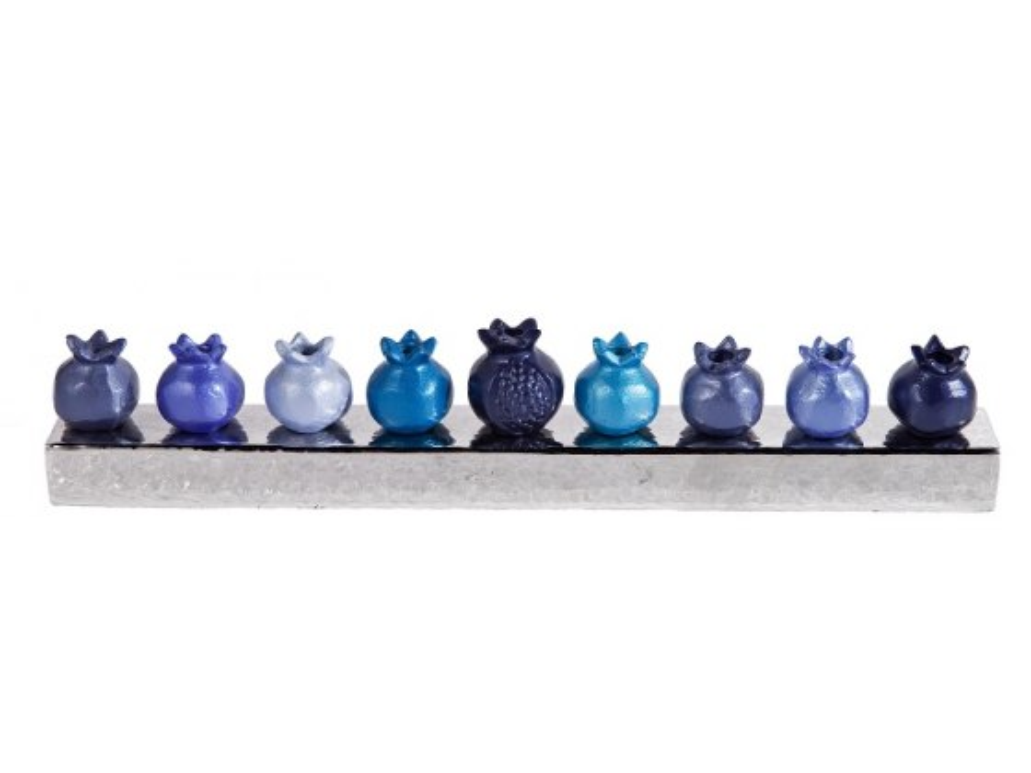 Emanuel Blue Pomegranates Hanukkah Menorah