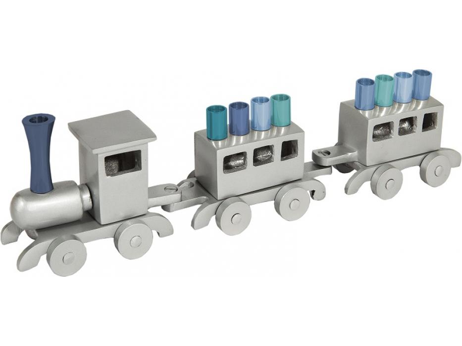 Emanuel Blue Train Hanukkah Menorah Anodized Aluminum
